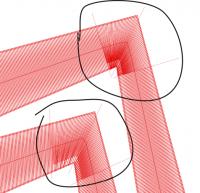пример применения укорочения при разных направлениях стежков в одинаковом контуре