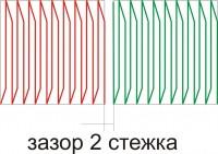 принудительный зазор между объектами с параллельными стежками