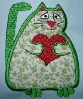 аппликационный кот для машинной вышивки