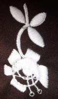 проба вышивки мотивным стежком шерстяной ниткой