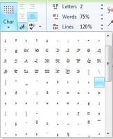 список доступных символов для ttf шрифта