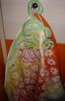 машинная вышивка аппликационной петельки на махровом полотенце