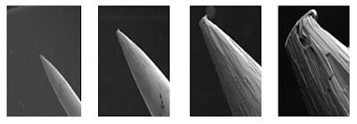 затупившийся кончик иглы под микроскопом
