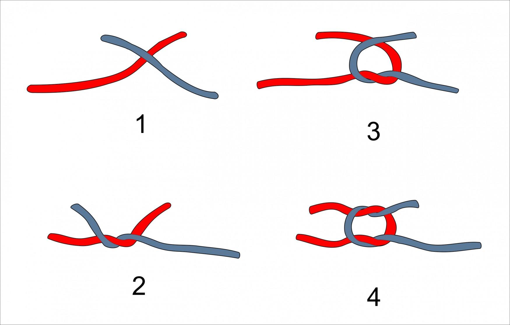 плоский узел для связывания вышивальных ниток