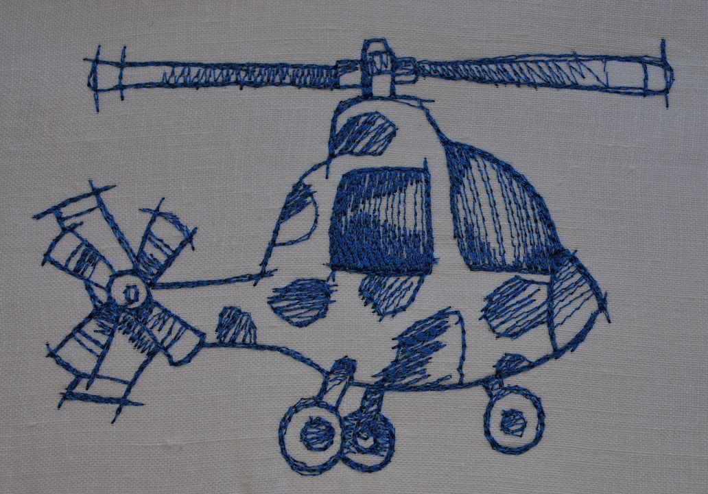 вертолет. машинная вышивка