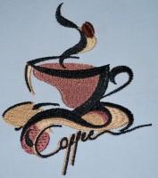 чашка кофе машинная вышивка