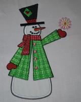 снеговик с аппликацией для машинной вышивки